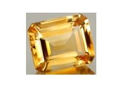 Citrine jaune or taille emeraude 8x6 mm