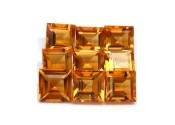 Citrine jaune or naturelle taille carree 4x4 mm