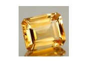 Citrine jaune or taille emeraude 7x5 mm
