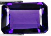 Amethyste de synthese hydrothermale taille emeraude 14x10 mm 6.50 carats