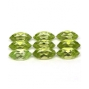 Peridot naturel taille marquise a facettes 6x3 mm 0.26 carat