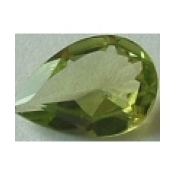 Peridot naturel taille poire a facettes 10x7 mm 1.80 carats Inclusions