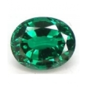 Emeraude de synthese hydrothermale ovale a facettes 16x12 mm 8.30 carats