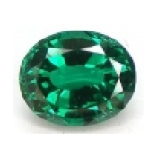Emeraude de synthese hydrothermale ovale a facettes 14x10 mm 5.50 carats
