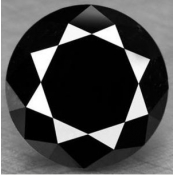 pierres precieuses : Beau diamant noir  taille ronde a facettes 11.13x11.07x6.96  mm 5.05 carats  AAA