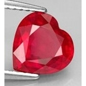 Rubis de synthese verneuil coeur a facettes 10x10 mm 4.60 carats