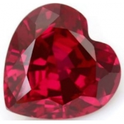 Rubis de synthese verneuil coeur a facettes 6x6 mm 0.95  carats